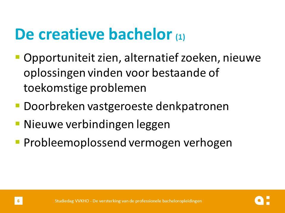  Creativiteitsdenken bevorderen (Ken Robinson)  Creativiteitscoaches  Inspirerende sessies  COP: community of practice  Innovatie: toegepaste of creativiteit De creatieve bachelor (2) Studiedag VVKHO - De versterking van de professionele bacheloropleidingen7