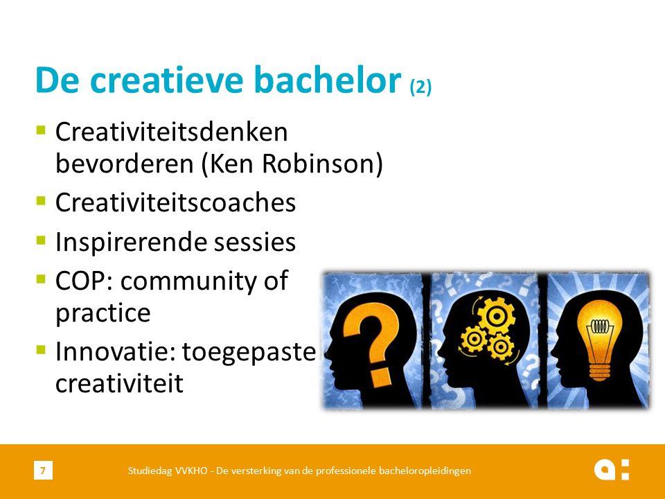  Creativiteitsdenken bevorderen (Ken Robinson)  Creativiteitscoaches  Inspirerende sessies  COP: community of practice  Innovatie: toegepaste of