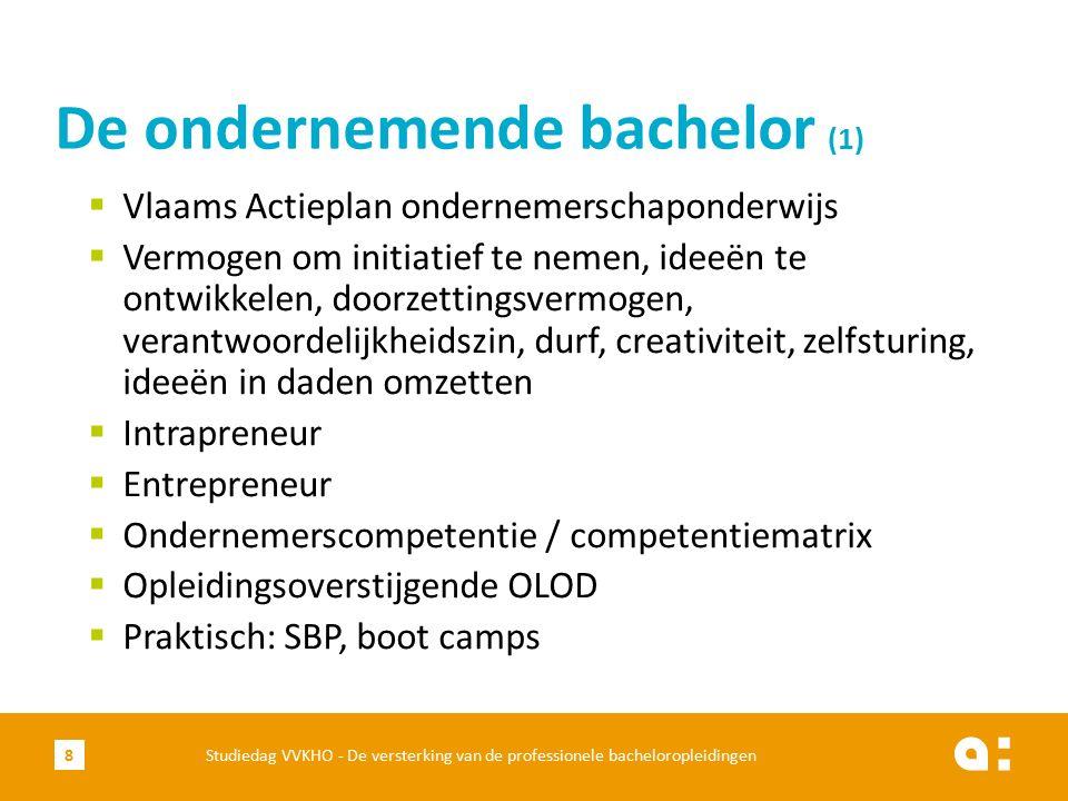  Vlaams Actieplan ondernemerschaponderwijs  Vermogen om initiatief te nemen, ideeën te ontwikkelen, doorzettingsvermogen, verantwoordelijkheidszin, durf, creativiteit, zelfsturing, ideeën in daden omzetten  Intrapreneur  Entrepreneur  Ondernemerscompetentie / competentiematrix  Opleidingsoverstijgende OLOD  Praktisch: SBP, boot camps De ondernemende bachelor (1) Studiedag VVKHO - De versterking van de professionele bacheloropleidingen8