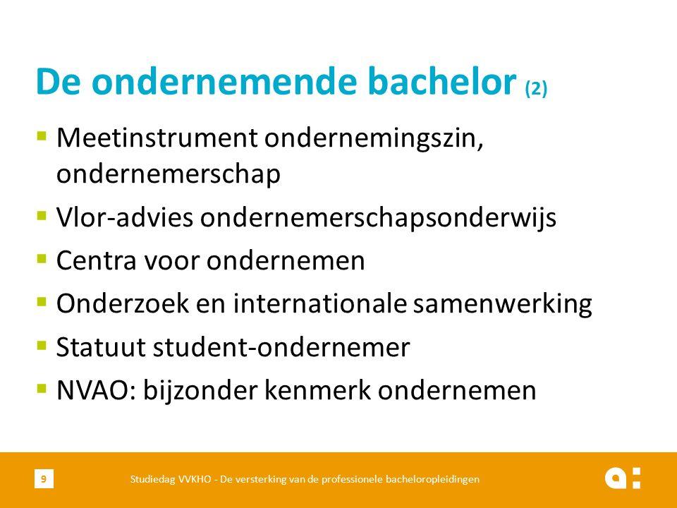  Meetinstrument ondernemingszin, ondernemerschap  Vlor-advies ondernemerschapsonderwijs  Centra voor ondernemen  Onderzoek en internationale samenwerking  Statuut student-ondernemer  NVAO: bijzonder kenmerk ondernemen De ondernemende bachelor (2) Studiedag VVKHO - De versterking van de professionele bacheloropleidingen9