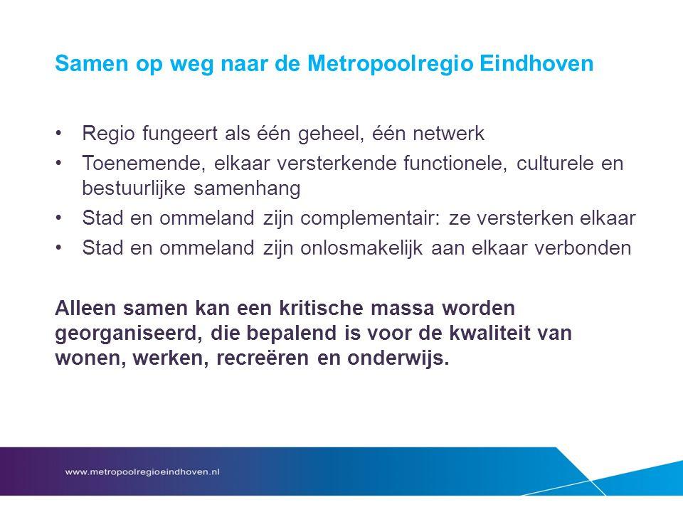 Samen op weg naar de Metropoolregio Eindhoven Regio fungeert als één geheel, één netwerk Toenemende, elkaar versterkende functionele, culturele en bestuurlijke samenhang Stad en ommeland zijn complementair: ze versterken elkaar Stad en ommeland zijn onlosmakelijk aan elkaar verbonden Alleen samen kan een kritische massa worden georganiseerd, die bepalend is voor de kwaliteit van wonen, werken, recreëren en onderwijs.