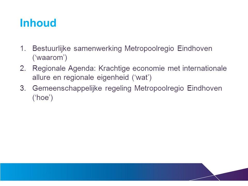 Inhoud 1.Bestuurlijke samenwerking Metropoolregio Eindhoven ('waarom') 2.Regionale Agenda: Krachtige economie met internationale allure en regionale eigenheid ('wat') 3.Gemeenschappelijke regeling Metropoolregio Eindhoven ('hoe')