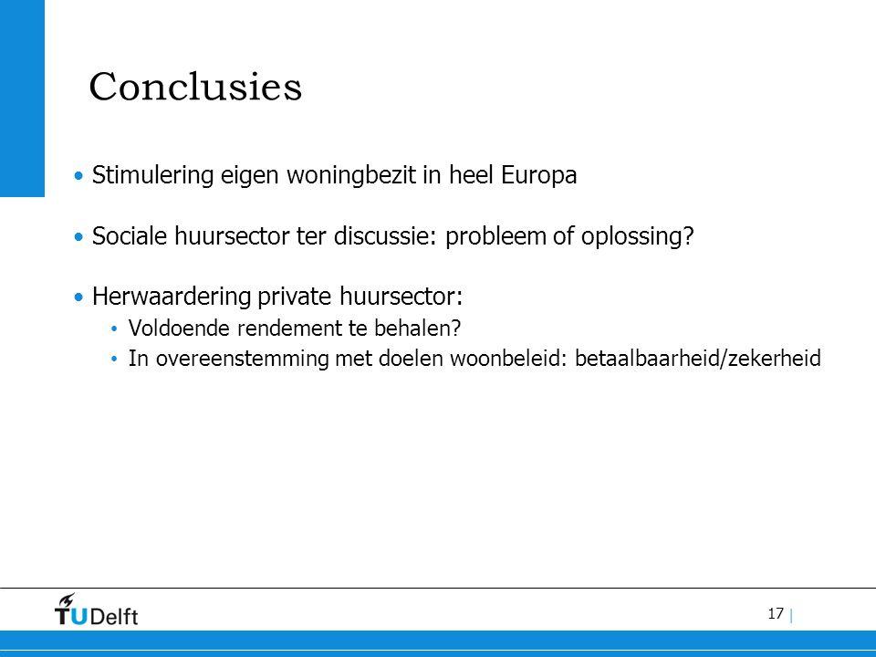 17 | Conclusies Stimulering eigen woningbezit in heel Europa Sociale huursector ter discussie: probleem of oplossing.