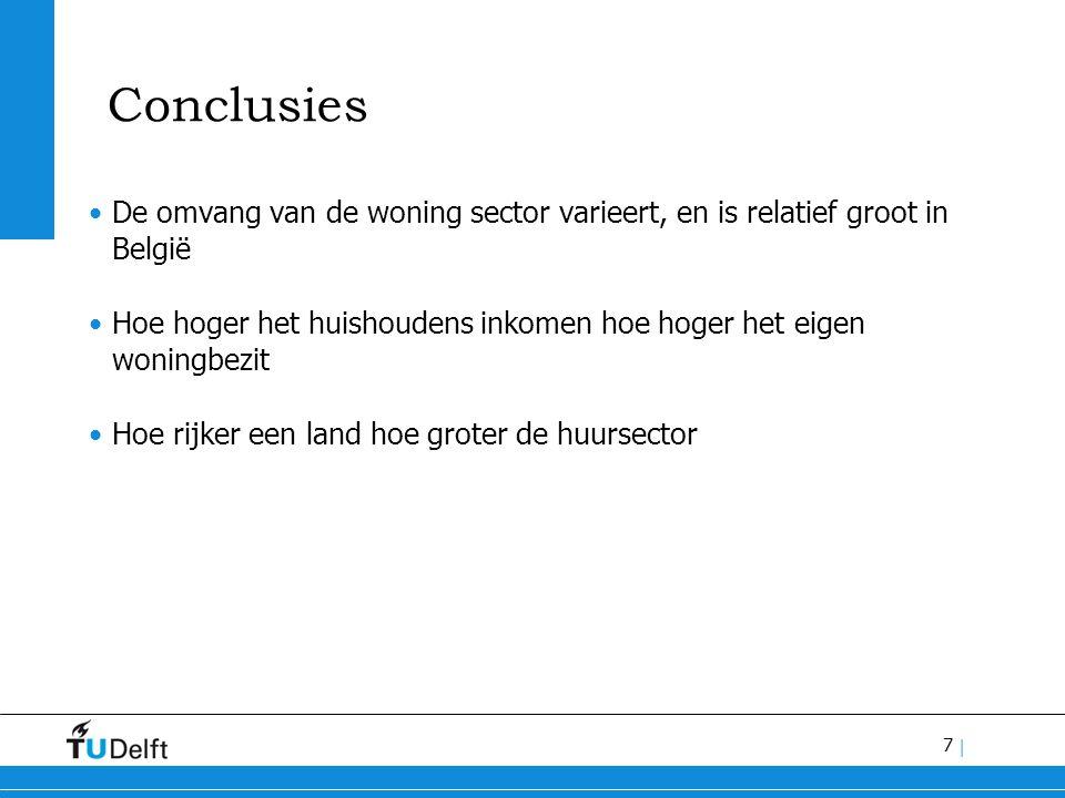 7 | Conclusies De omvang van de woning sector varieert, en is relatief groot in België Hoe hoger het huishoudens inkomen hoe hoger het eigen woningbezit Hoe rijker een land hoe groter de huursector