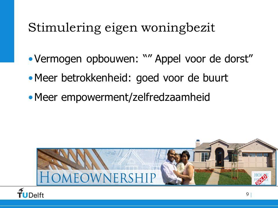 9 | Stimulering eigen woningbezit Vermogen opbouwen: Appel voor de dorst Meer betrokkenheid: goed voor de buurt Meer empowerment/zelfredzaamheid