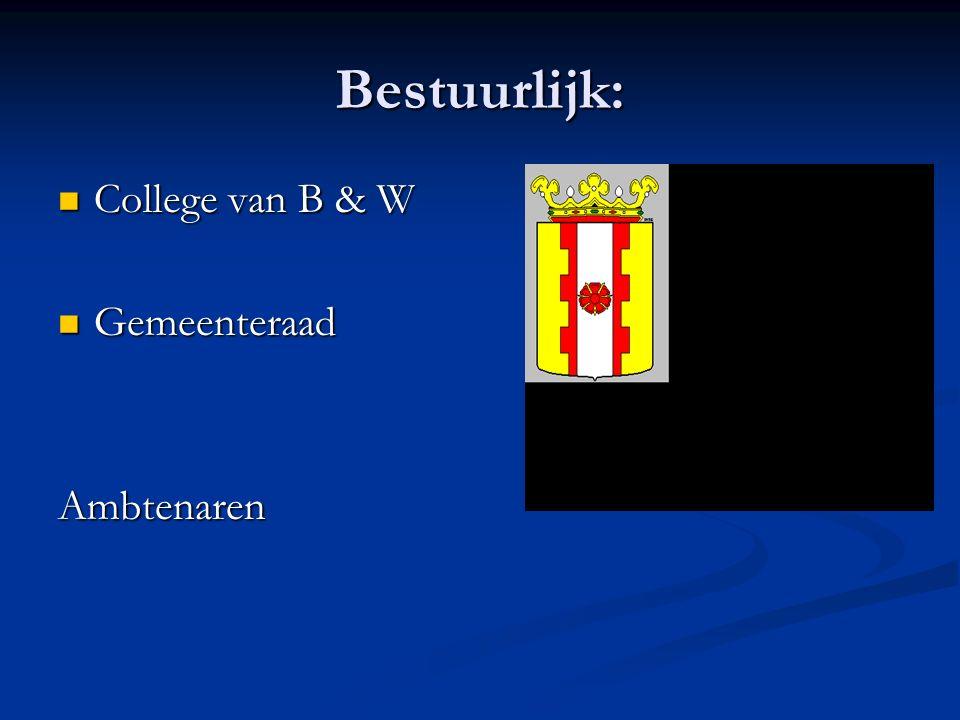 Bestuurlijk: College van B & W College van B & W Gemeenteraad GemeenteraadAmbtenaren