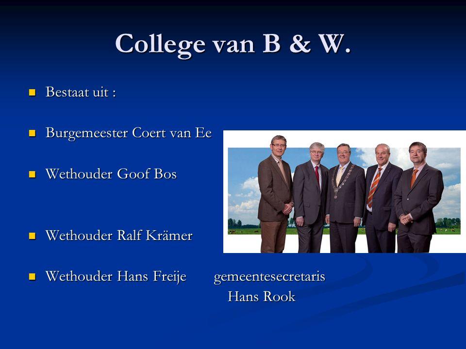 College van B & W. Bestaat uit : Bestaat uit : Burgemeester Coert van Ee Burgemeester Coert van Ee Wethouder Goof Bos Wethouder Goof Bos Wethouder Ral