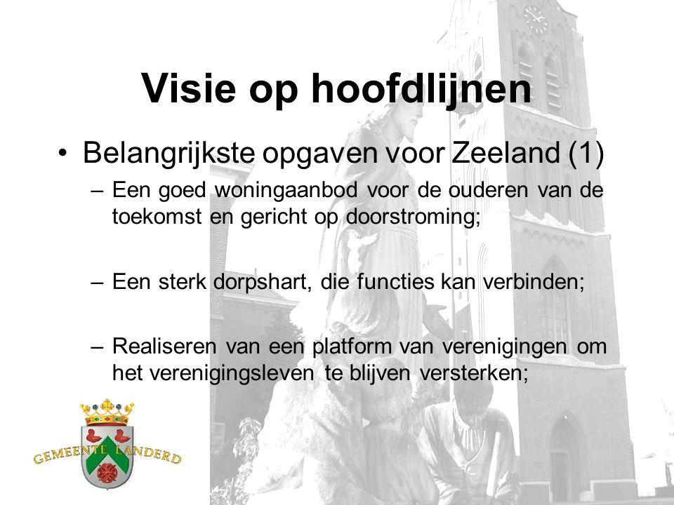 Visie op hoofdlijnen Belangrijkste opgaven voor Zeeland (1) –Een goed woningaanbod voor de ouderen van de toekomst en gericht op doorstroming; –Een sterk dorpshart, die functies kan verbinden; –Realiseren van een platform van verenigingen om het verenigingsleven te blijven versterken;