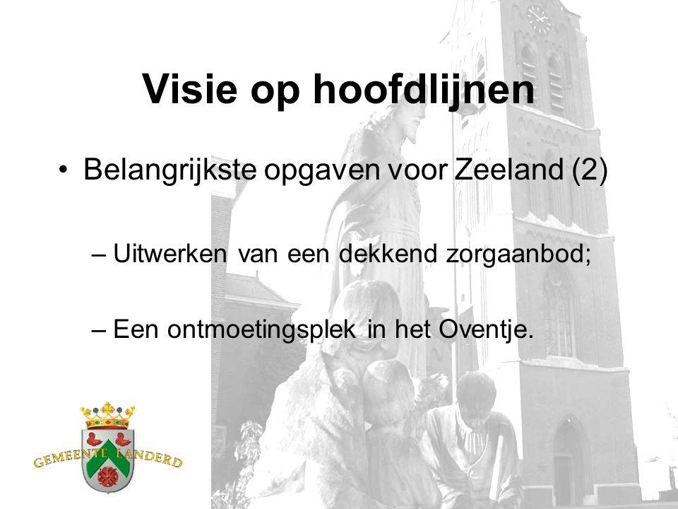Visie op hoofdlijnen Belangrijkste opgaven voor Zeeland (2) –Uitwerken van een dekkend zorgaanbod; –Een ontmoetingsplek in het Oventje.
