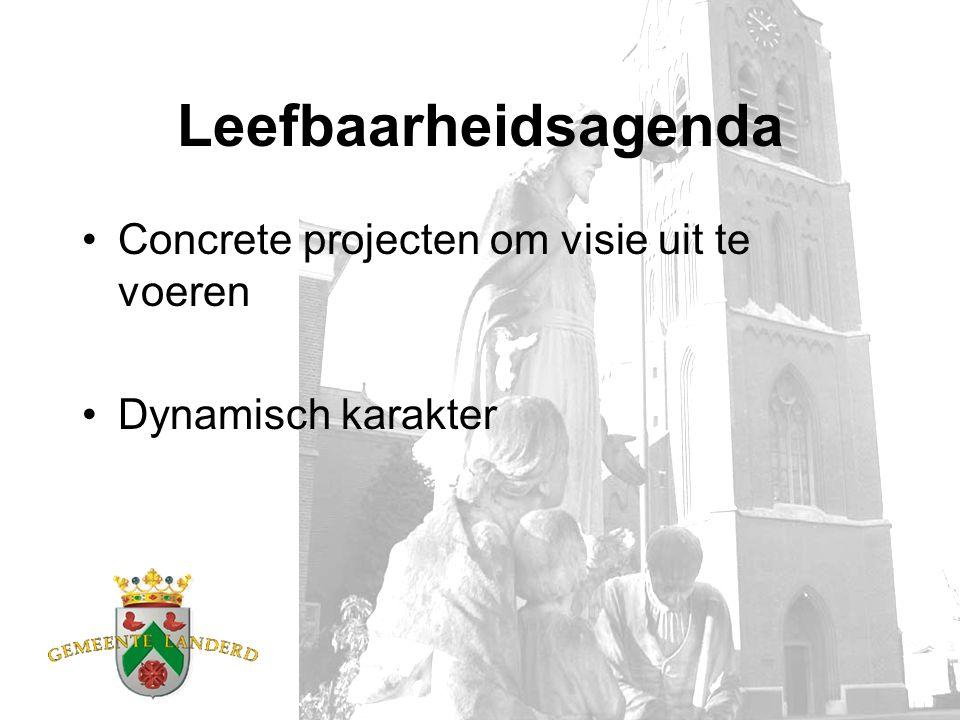 Leefbaarheidsagenda Concrete projecten om visie uit te voeren Dynamisch karakter