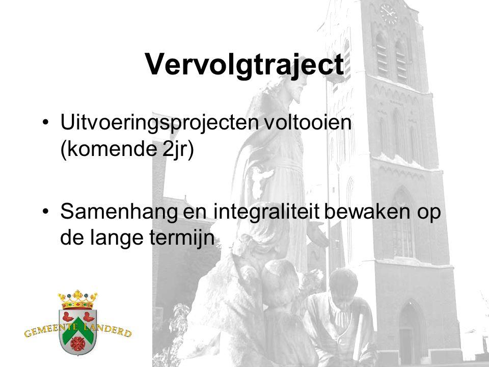Vervolgtraject Uitvoeringsprojecten voltooien (komende 2jr) Samenhang en integraliteit bewaken op de lange termijn