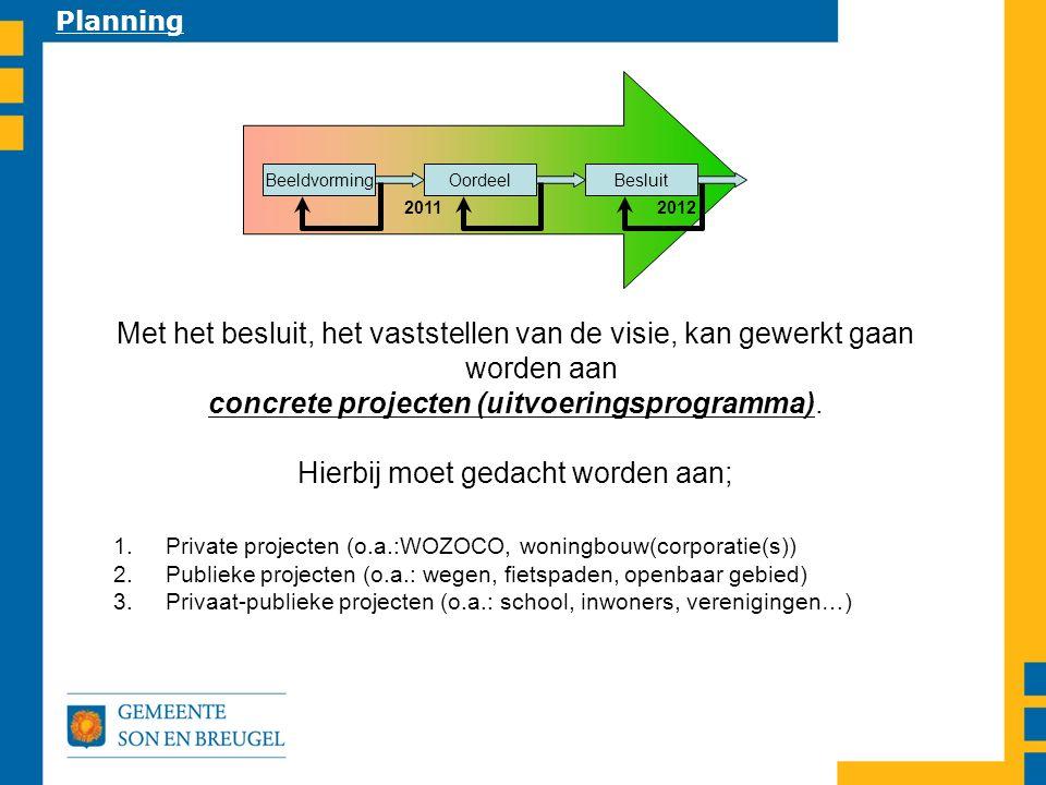 2011 2012 BeeldvormingBesluitOordeel Planning Met het besluit, het vaststellen van de visie, kan gewerkt gaan worden aan concrete projecten (uitvoeringsprogramma).