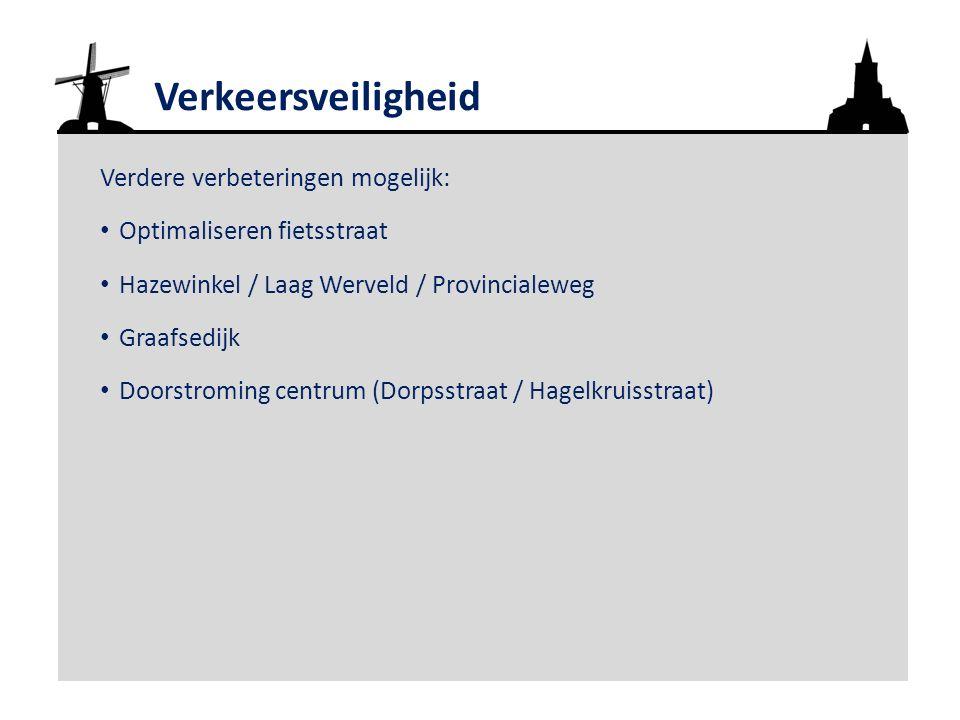 Verkeersveiligheid Verdere verbeteringen mogelijk: Optimaliseren fietsstraat Hazewinkel / Laag Werveld / Provincialeweg Graafsedijk Doorstroming centrum (Dorpsstraat / Hagelkruisstraat)
