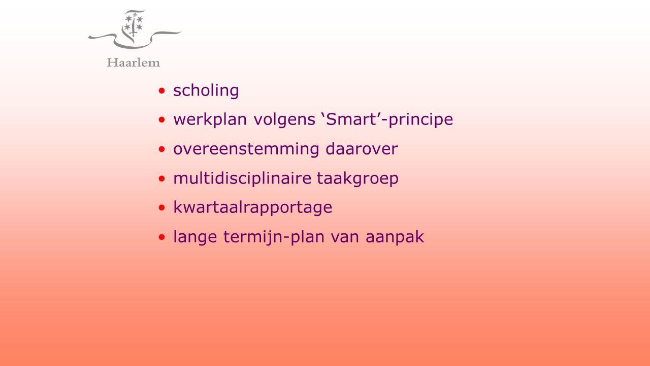 scholing werkplan volgens 'Smart'-principe overeenstemming daarover multidisciplinaire taakgroep kwartaalrapportage lange termijn-plan van aanpak