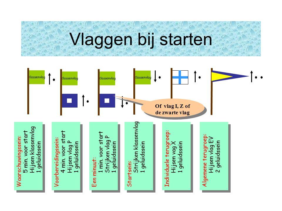 Klassenvlag Vlaggen bij starten Klassenvlag Waarschuwingssein: 5 min.