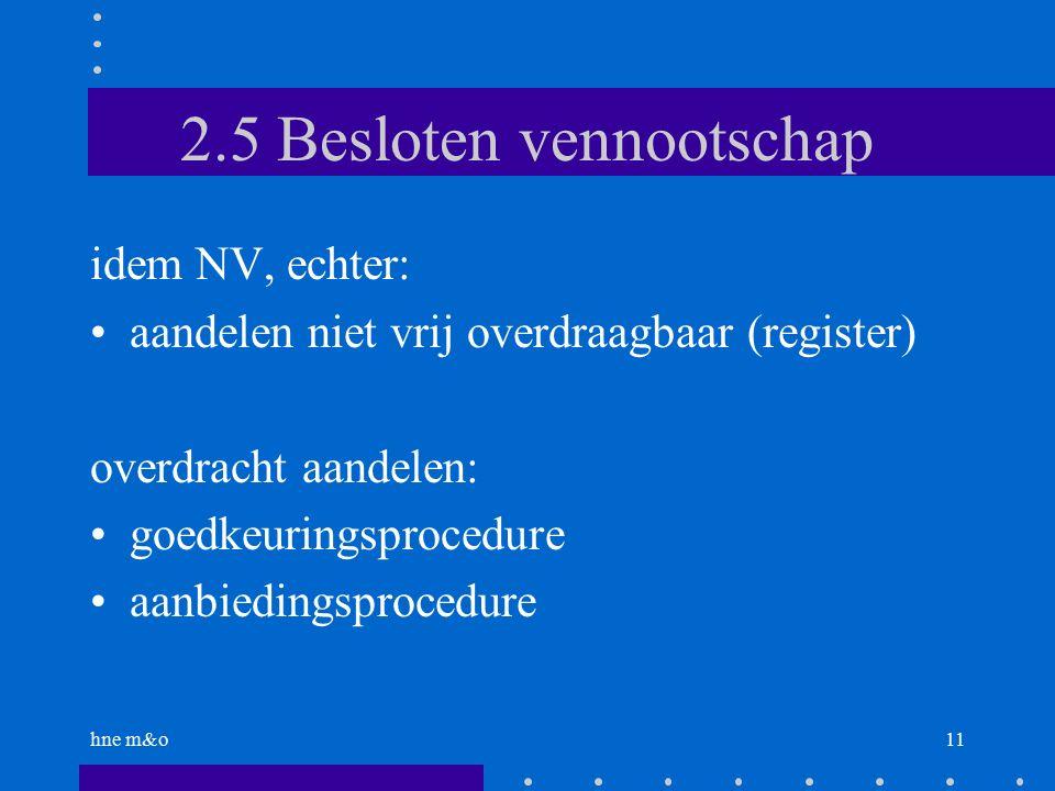 hne m&o11 2.5 Besloten vennootschap idem NV, echter: aandelen niet vrij overdraagbaar (register) overdracht aandelen: goedkeuringsprocedure aanbiedingsprocedure