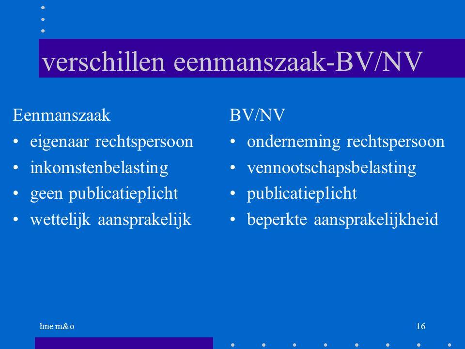 hne m&o16 verschillen eenmanszaak-BV/NV Eenmanszaak eigenaar rechtspersoon inkomstenbelasting geen publicatieplicht wettelijk aansprakelijk BV/NV onderneming rechtspersoon vennootschapsbelasting publicatieplicht beperkte aansprakelijkheid