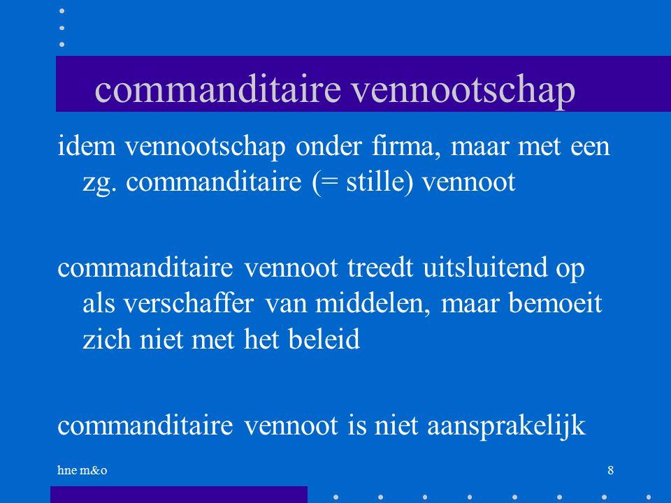 hne m&o8 commanditaire vennootschap idem vennootschap onder firma, maar met een zg.
