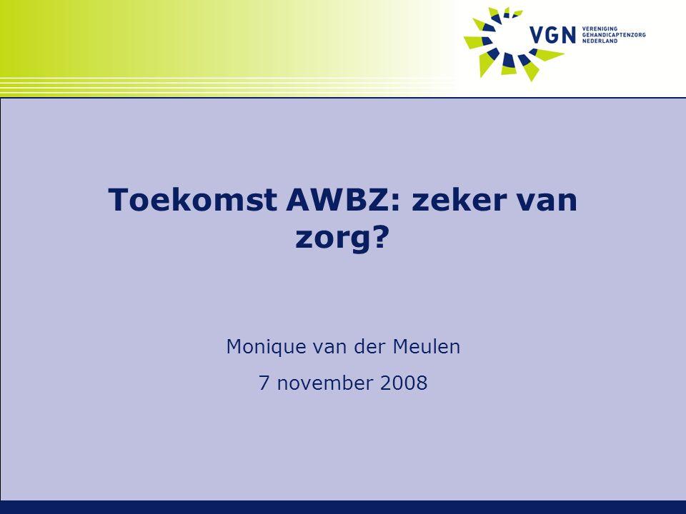 Inzet VGN toekomst AWBZ  Doelgroepenbeleid  Gehandicaptenzorg binnen AWBZ  Heldere aanspraken en geprotocolleerde indicatiestelling  Cliënt centraal:  Cliëntvolgende bekostiging in de vorm van PGB en PVB