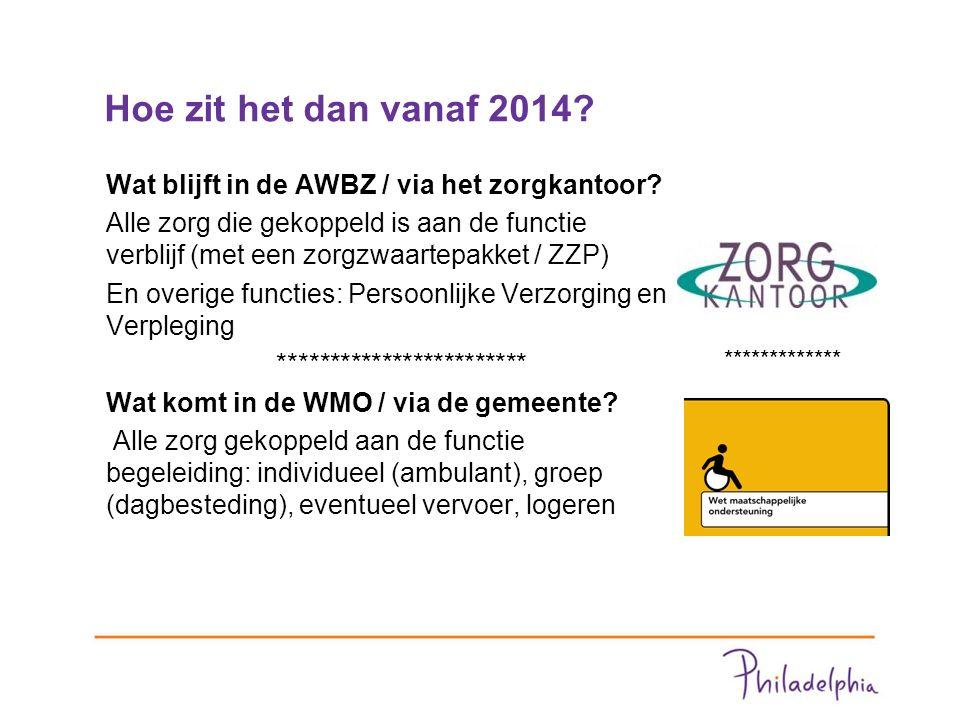 Hoe zit het dan vanaf 2014. Wat blijft in de AWBZ / via het zorgkantoor.
