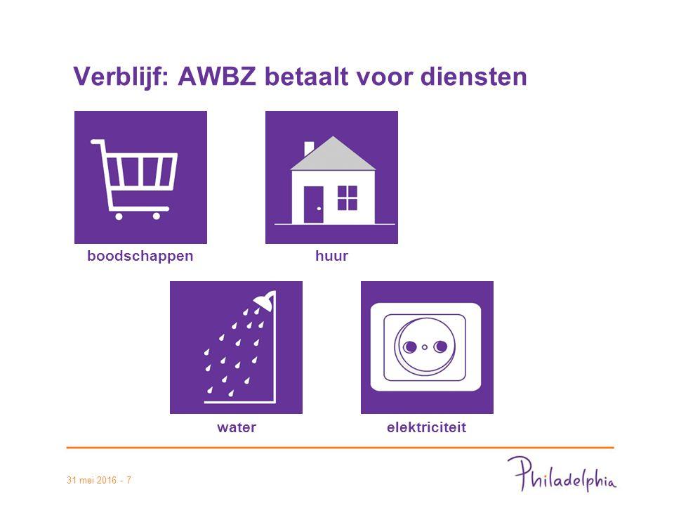 31 mei 2016 - 7 Verblijf: AWBZ betaalt voor diensten boodschappenhuur waterelektriciteit