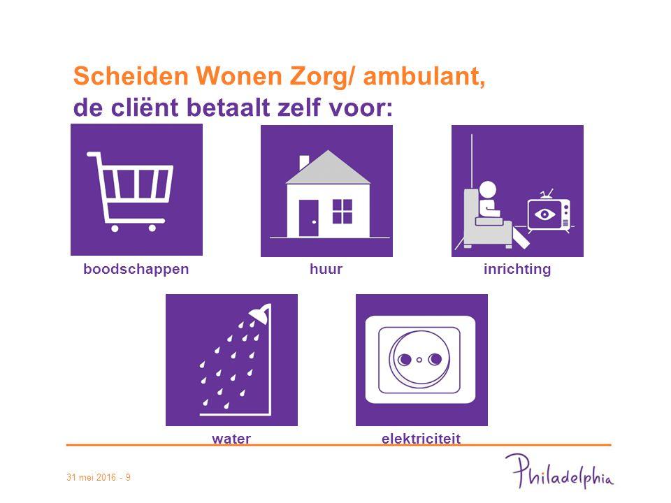 31 mei 2016 - 9 Scheiden Wonen Zorg/ ambulant, de cliënt betaalt zelf voor: boodschappenhuurinrichting waterelektriciteit