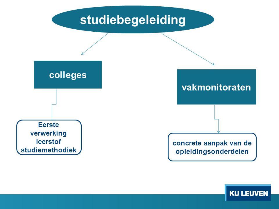 studiebegeleiding colleges vakmonitoraten Eerste verwerking leerstof studiemethodiek concrete aanpak van de opleidingsonderdelen