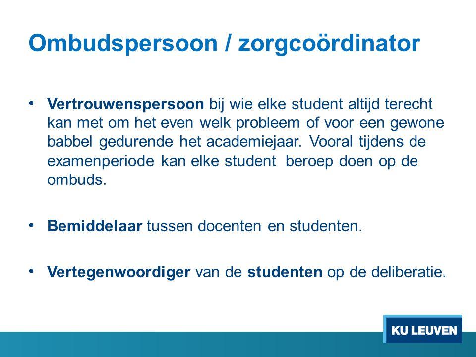 Ombudspersoon / zorgcoördinator Vertrouwenspersoon bij wie elke student altijd terecht kan met om het even welk probleem of voor een gewone babbel gedurende het academiejaar.