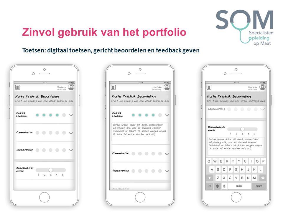 Zinvol gebruik van het portfolio Toetsen: digitaal toetsen, gericht beoordelen en feedback geven