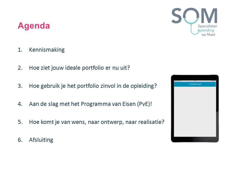Agenda 1.Kennismaking 2.Hoe ziet jouw ideale portfolio er nu uit? 3.Hoe gebruik je het portfolio zinvol in de opleiding? 4.Aan de slag met het Program