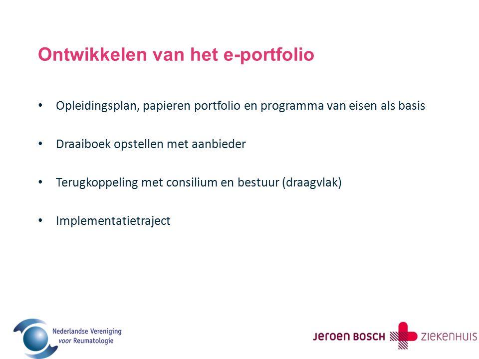 Ontwikkelen van het e-portfolio Opleidingsplan, papieren portfolio en programma van eisen als basis Draaiboek opstellen met aanbieder Terugkoppeling met consilium en bestuur (draagvlak) Implementatietraject