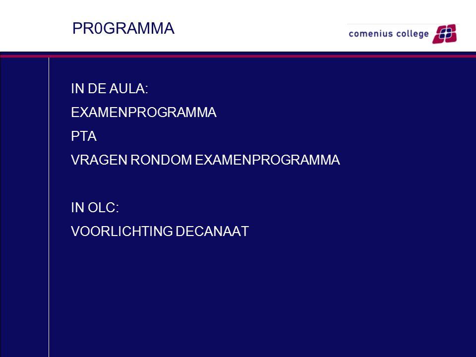 PR0GRAMMA IN DE AULA: EXAMENPROGRAMMA PTA VRAGEN RONDOM EXAMENPROGRAMMA IN OLC: VOORLICHTING DECANAAT