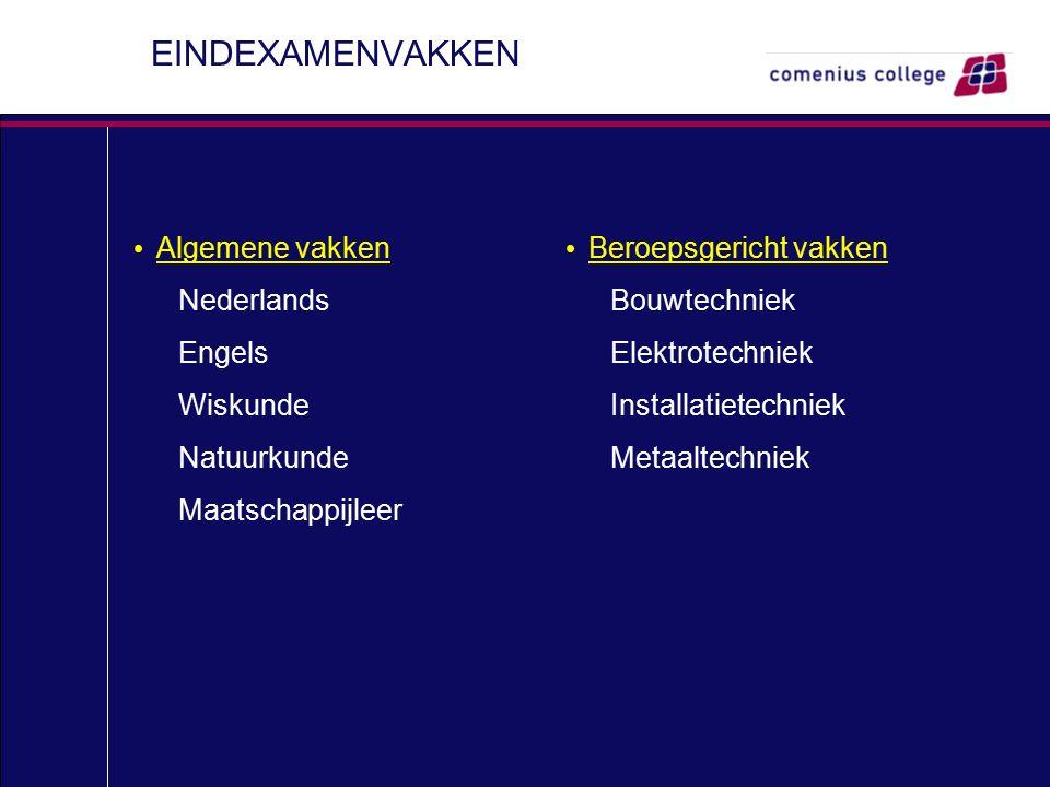 EINDEXAMENVAKKEN Algemene vakken Nederlands Engels Wiskunde Natuurkunde Maatschappijleer Beroepsgericht vakken Bouwtechniek Elektrotechniek Installatietechniek Metaaltechniek