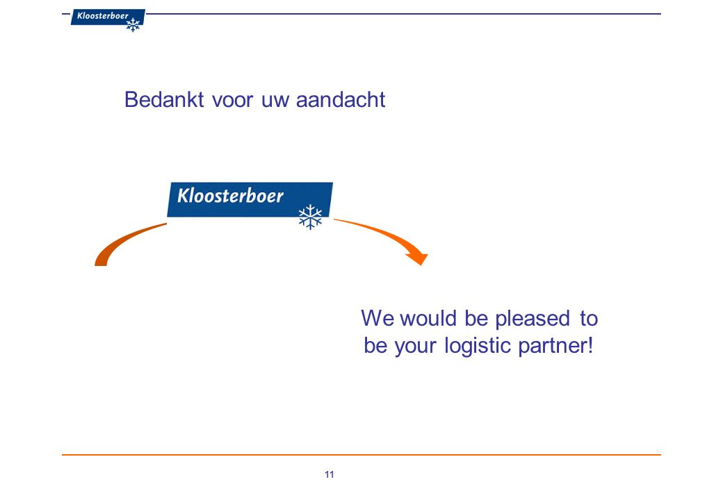 11 We would be pleased to be your logistic partner! Bedankt voor uw aandacht