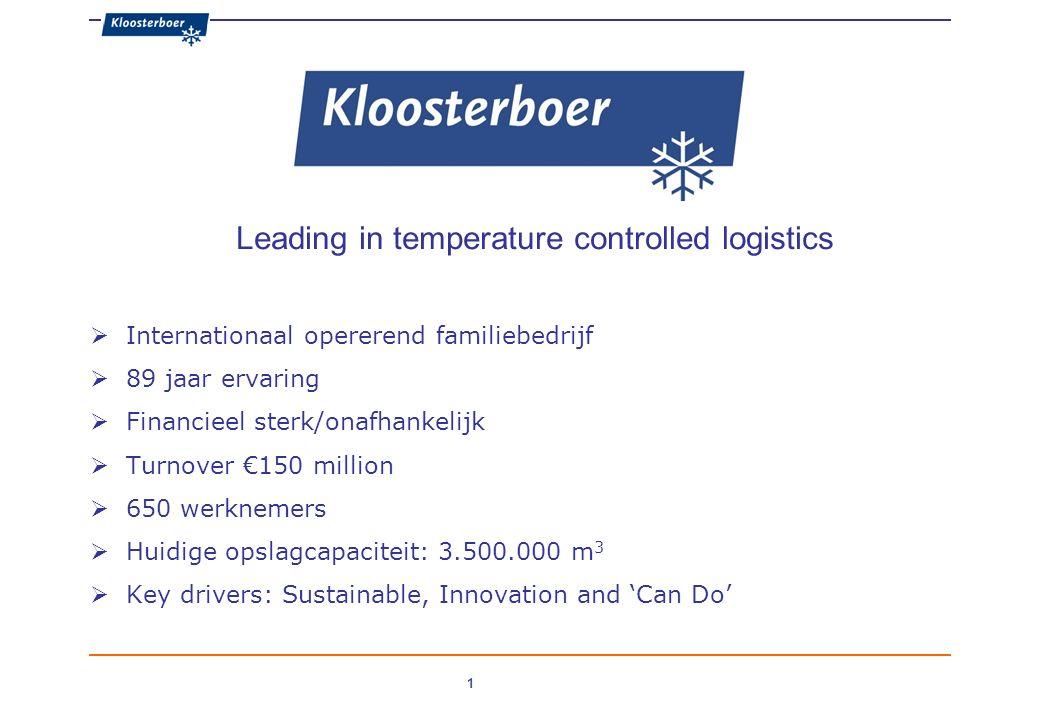 1 Leading in temperature controlled logistics  Internationaal opererend familiebedrijf  89 jaar ervaring  Financieel sterk/onafhankelijk  Turnover €150 million  650 werknemers  Huidige opslagcapaciteit: 3.500.000 m 3  Key drivers: Sustainable, Innovation and 'Can Do'
