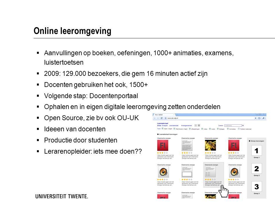 Online leeromgeving  Aanvullingen op boeken, oefeningen, 1000+ animaties, examens, luistertoetsen  2009: 129.000 bezoekers, die gem 16 minuten actie