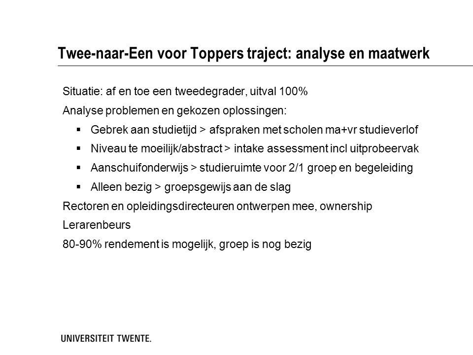 Twee-naar-Een voor Toppers traject: analyse en maatwerk Situatie: af en toe een tweedegrader, uitval 100% Analyse problemen en gekozen oplossingen: 