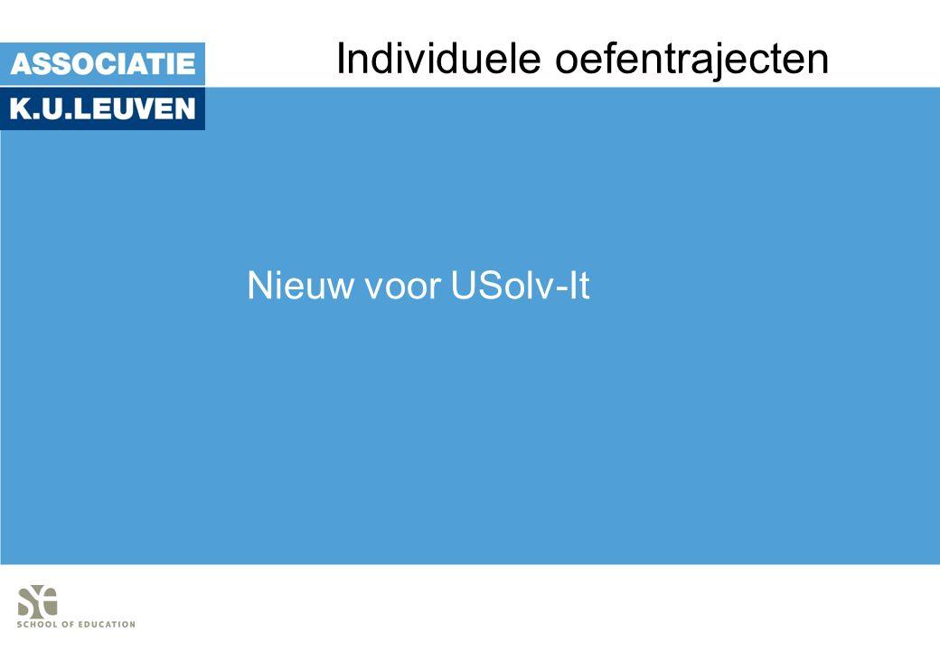 Individuele oefentrajecten Nieuw voor USolv-It