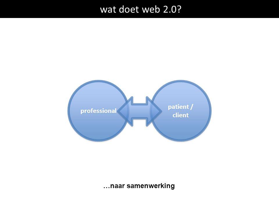 wat doet web 2.0? professional patient / client patient / client …naar samenwerking