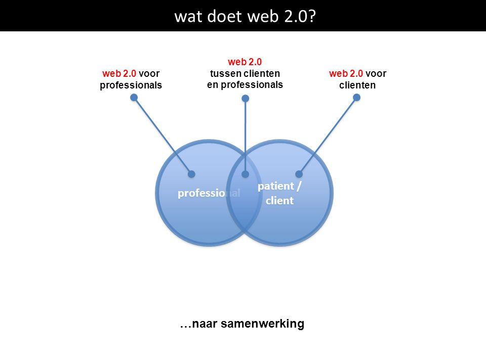 wat doet web 2.0? professional patient / client patient / client …naar samenwerking web 2.0 voor professionals web 2.0 voor clienten web 2.0 tussen cl