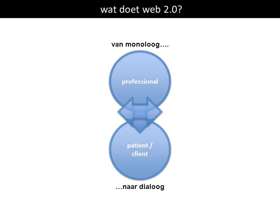 wat doet web 2.0? professional patient / client patient / client van monoloog…. …naar dialoog