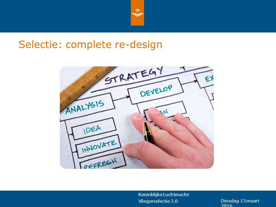 Koninklijke Luchtmacht Vliegerselectie 3.0 Dinsdag 15 maart 2016 Selectie: complete re-design