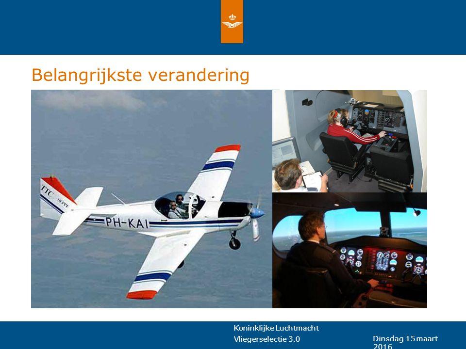 Koninklijke Luchtmacht Vliegerselectie 3.0 Dinsdag 15 maart 2016 Belangrijkste verandering