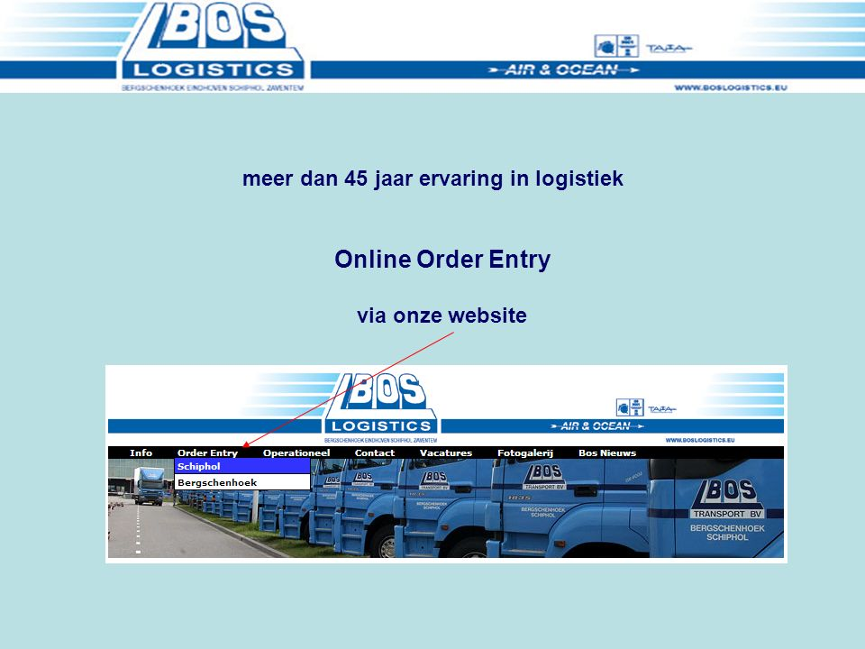 Online Order Entry via onze website