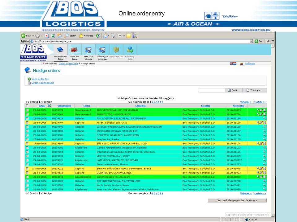 Status zendingen Online order entry