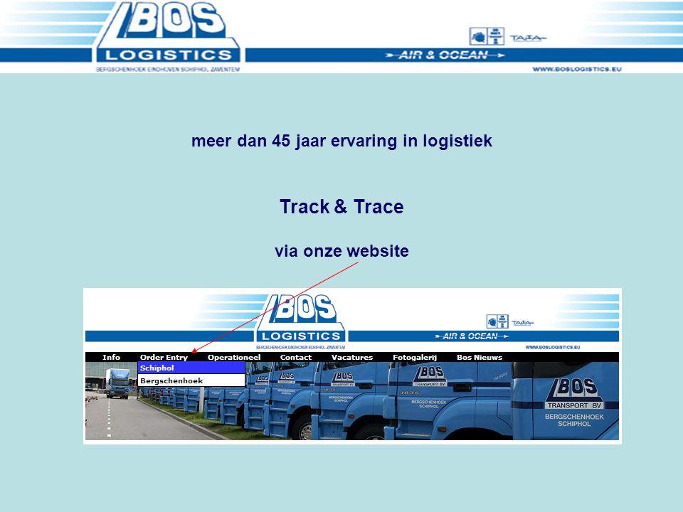 Track & Trace via onze website meer dan 45 jaar ervaring in logistiek