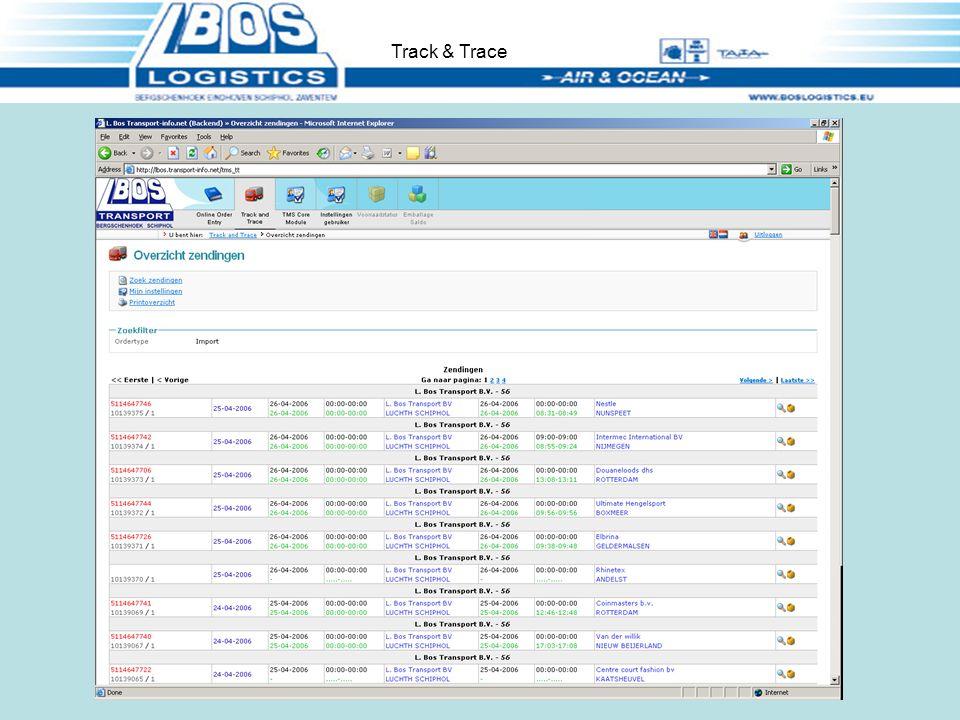 Status van de geboekte orders volgen. ( Track and Trace ) Track & Trace
