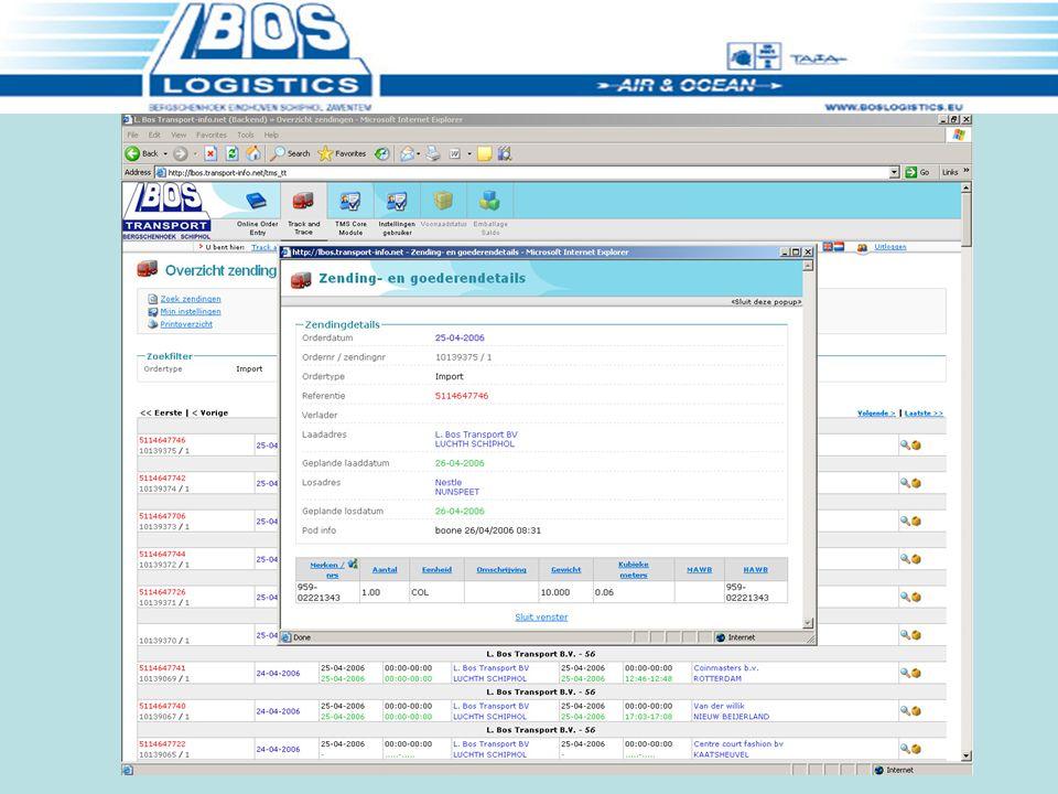 Proof of Delivery informatie Datum/tijd. Aflevering en zending informatie Aantal/Gewicht Ref. etc.