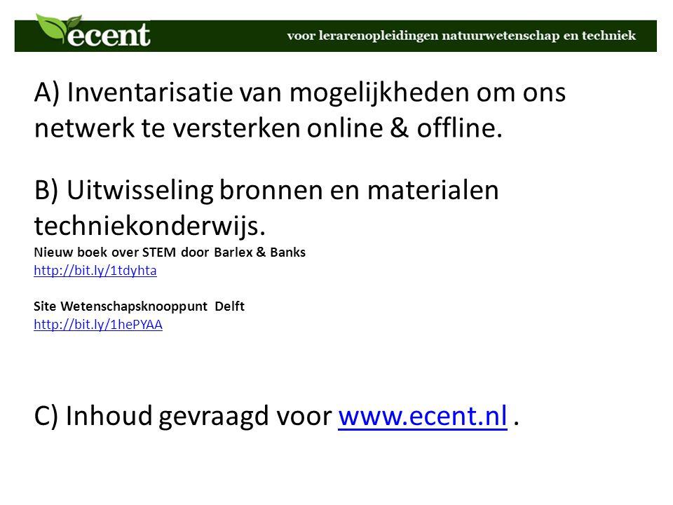 A) Inventarisatie van mogelijkheden om ons netwerk te versterken online & offline. C) Inhoud gevraagd voor www.ecent.nl.www.ecent.nl B) Uitwisseling b