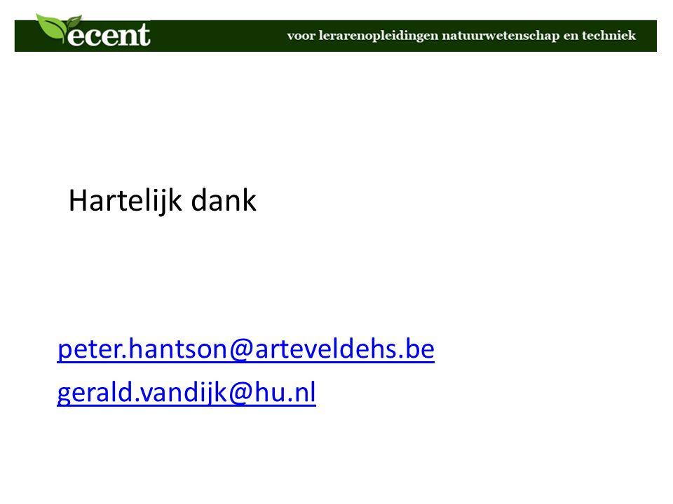 Hartelijk dank peter.hantson@arteveldehs.be gerald.vandijk@hu.nl